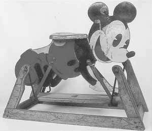 Painted wooden rocking Mickey Mouse