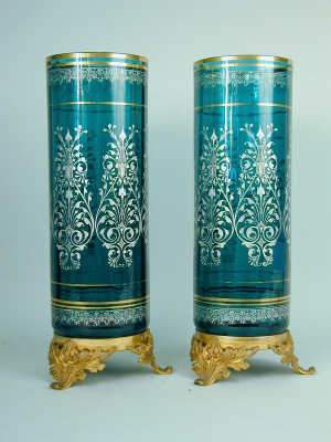 Pair of French ormolu mounted green glass