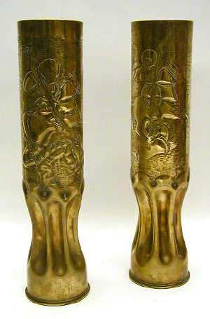 PAIR OF WWI TRENCH ART SLEEVE VASES