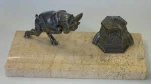 Art deco spelter and limestone inkstand