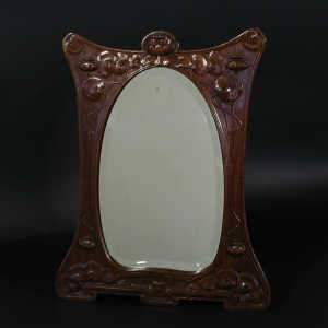 Art Nouveau Ecole de Nancy carved walnut dressing