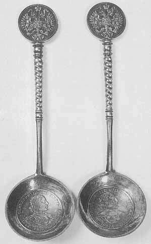 Silver gilt pair of spoons