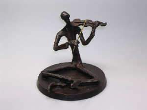 Bronze figure of a seated violinist
