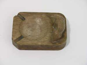 'Mouseman' wooden ashtray