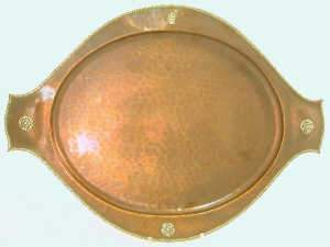 Arts & Crafts oval copper tray with lightly