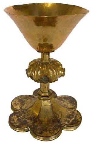 Gothic chalice, copper gilt