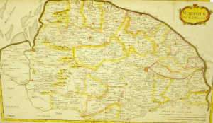 Coloured map of Norfolk by Robert Morden