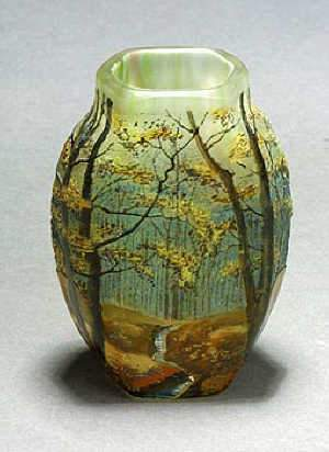 French Art Nouveau enamelled Landscape vase