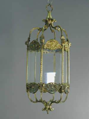 Hanging hexagonal brass hall lantern (two panels