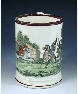 Early 19th century creamware quart mug printed