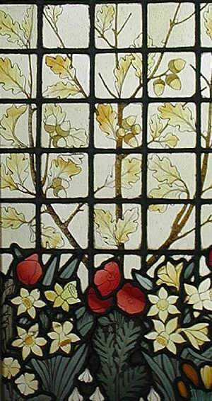 Stained glass panel, decorated with acorn sprays