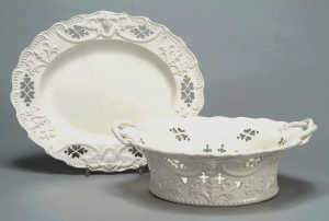 Creamware basket and stand, probably Yorkshire, c1780