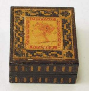 Tunbridge ware stamp box, late C19th