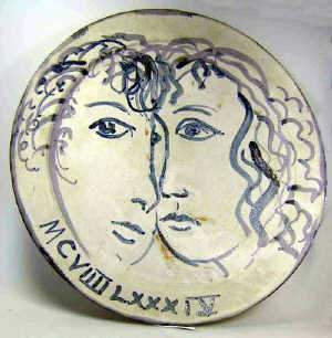 Studio pottery dish, 1984