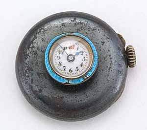 Gunmetal and enamel button hole watch