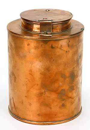 19th century cylindrical copper tea cannister