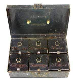 Early 19th century tole peint rectangular spice box