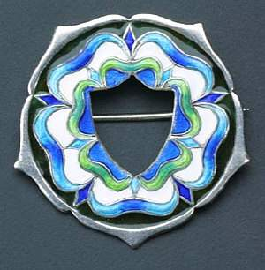 Enamelled flowerform brooch