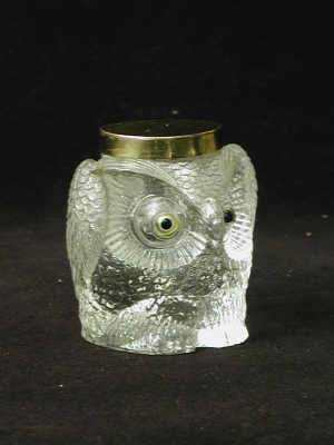 Glass inkwell in the form of an owl