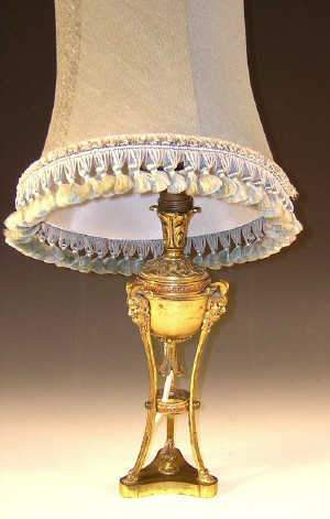C20th lacquered gilt brass table lamp