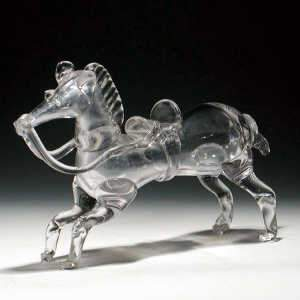 Glass model of a horse, mid C20th