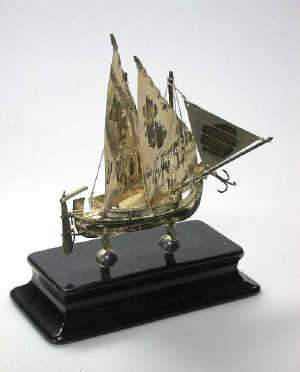 Maltese metalwares model of a sailing vessel