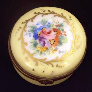 French glazed porcelain circular pill box