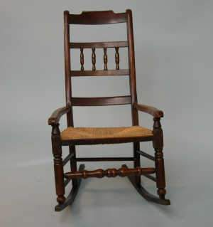 C19th spindle back rocking armchair