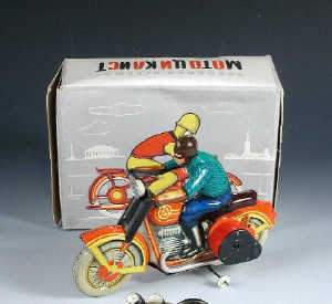 Russian made tinplate clockwork motorcyclist