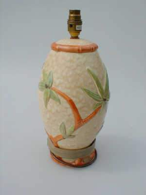 Faux bamboo moulded pottery lamp base