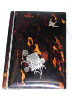 Late C19th tortoiseshell note book/necessaire
