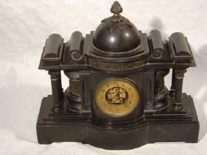 19th century heavy black slate mantel clock
