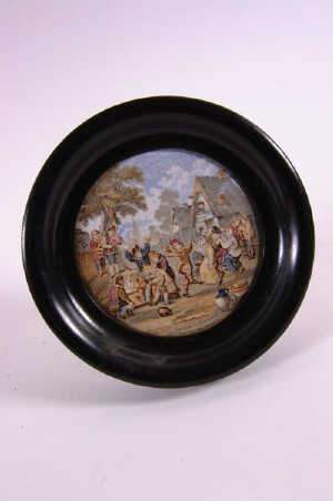 Staffordshire Pot Lid 'The Village Wedding'
