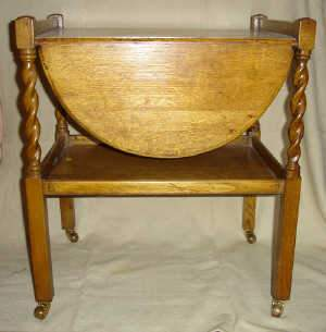 Two-tier oak tea trolley