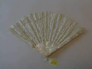 Victorian fan, mother of pearl sticks