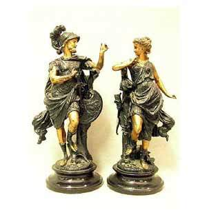 Pair of late Victorian classical spelter figurines