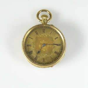 Gold cased open face fob watch