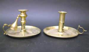 TWO EARLY C19TH BRASS CHAMBER CANDLESTICKS