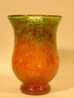 Art glass amber tinted and orange vase