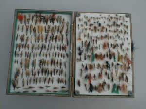 Extensive collection of salmon flies
