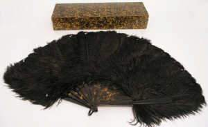 Ostrich feather fan, with tortoiseshell sticks