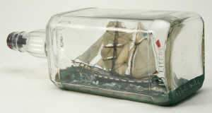Ship in the bottle model of the 'Brig-schooner John Cobbold 1850'