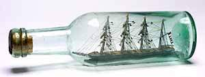 Ship in a bottle: the model of a fully rigged sailing ship