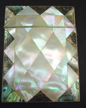 VICTORIAN MOTHER-OF-PEARL AND ABALONE SHELL CARD CASE