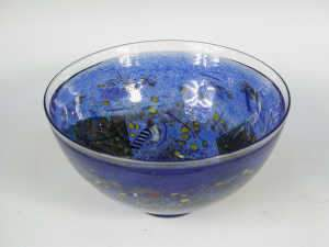 Kosta Boda blue glass bowl