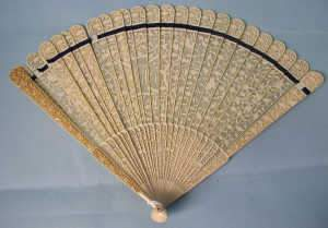 Carved and pierced ivory Cantonese fan