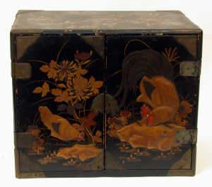 C19th Japanese lacquer brass bound chest cabinet