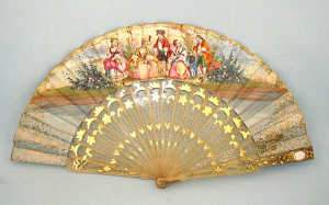 19th century Continental double sided fan