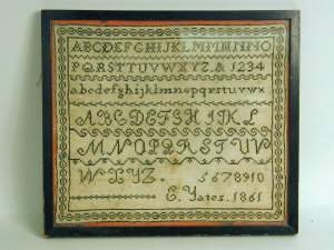 Victorian sampler by E. Yates, dated 1861