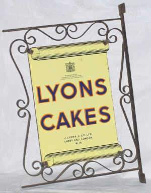 'Lyons Cakes' enamel advertising sign